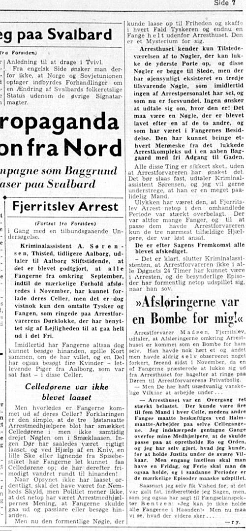 1947_06_17 (2) Fjerritslev arrest tømt for fanger - Aalborg Amtstidende