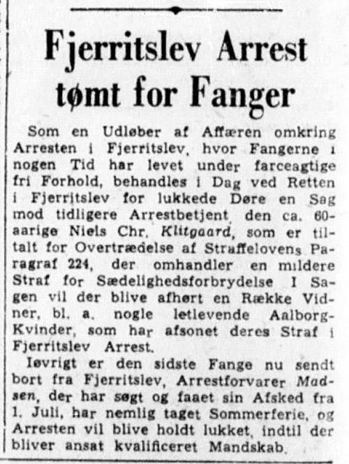 1947_06_17 Fjerritslev arrest tømt for fanger - Aalborg Amtstidende